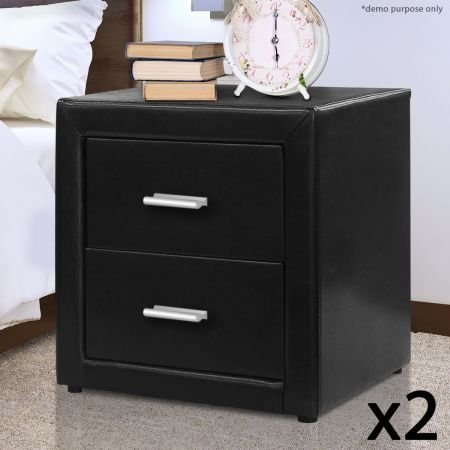 Set of  PU Leather Bedside Tables with 2 Drawers - Black