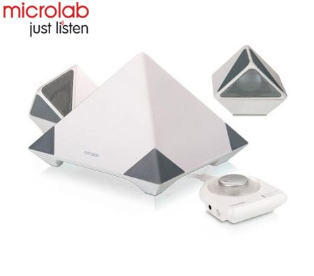 Microlab A6352 2 1 Pyramid Shaped Speakers - White/38 Watts RMS/3D  Sound/deal for Gaming Music & PC