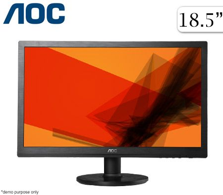 "AOC e960Swn 18.5"" LED Monitor - HD / 1366x768 /VGA/ 20 000 000:1 Contrast (DCR)/5ms/VESA(100x100mm)"