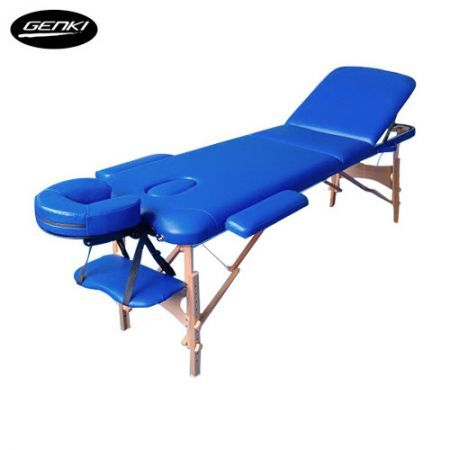 Genki Portable 3-Section Massage Table Chair Bed Foldable with Carry Bag - High Density Foam - Blue