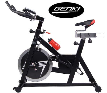 GENKI 18kg Spinning Flywheel Exercise Fitness Bike Machine with Pulse    Bicycle Exercise Machine