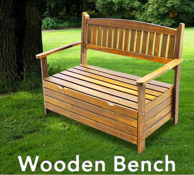 wooden garden storage bench crazy sales. Black Bedroom Furniture Sets. Home Design Ideas