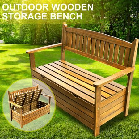 Wooden Garden Storage Bench