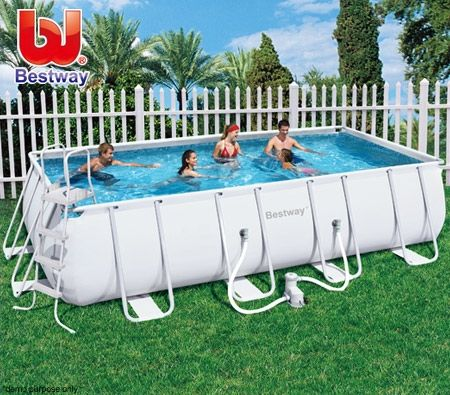 Bestway extra large steel frame above ground swimming pool 549x274x122 cm crazy sales for Large above ground swimming pools