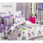 Palm Island Quilt Cover Set Daisy Stripes Pink - Queen Bed