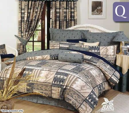 Palm Island Quilt Cover Set Bali Mocca Queen Bed Crazy