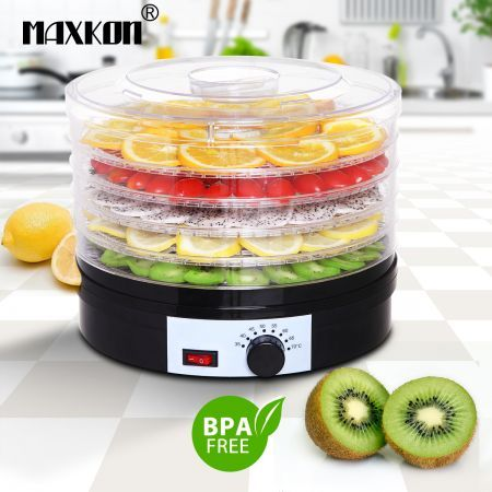 Maxkon Food Dehydrator with Adjustable Trays- Black