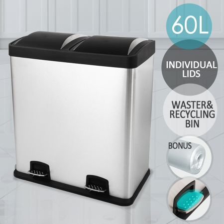 Modern 60L Dual Compartment Stainless Steel Garbage Bin