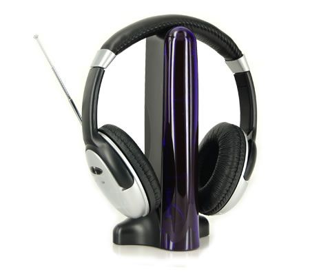 4 in 1 Headset TV,PC/Mac,MP3,CD/DVD, Online Chat Hi-Fi Wireless Cordless Headphone - Silver
