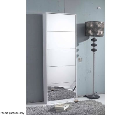 Mirrored Shoe Storage Cabinet - Wooden - White
