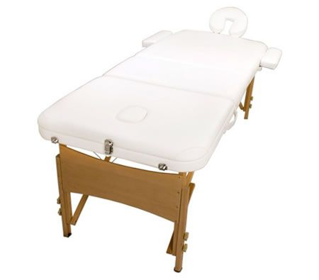 Portable Massage Table - Wooden - White