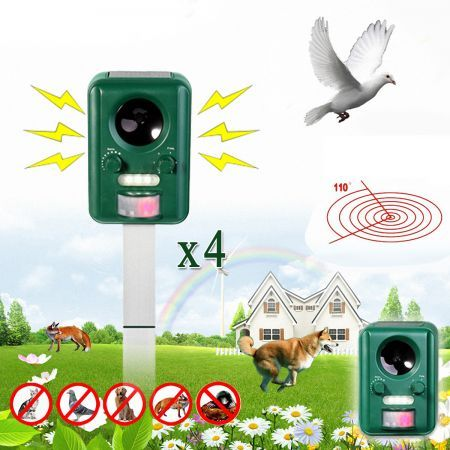 4 x Motion  Activated Solar Power Pest Repeller
