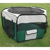 Six Panel Portable Pet Kennel- Green