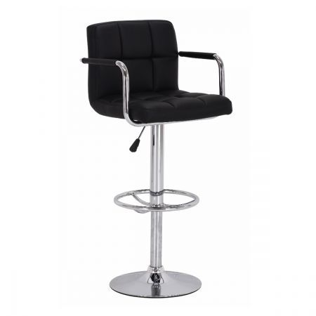 Faux Leather Bar Stool With Arm Rests Black Crazy Sales