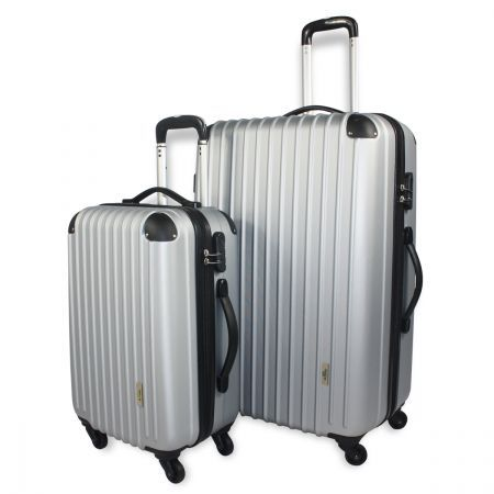 2pc Hard- Shell Luggage Trolley Set - Silver