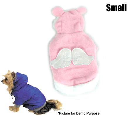 Dog Clothing - Baby Pink Angel Hoodie with Wings - Size Small