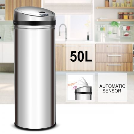 50L Touchless Rubbish Bin S/S Automatic Sensor Dust Bin