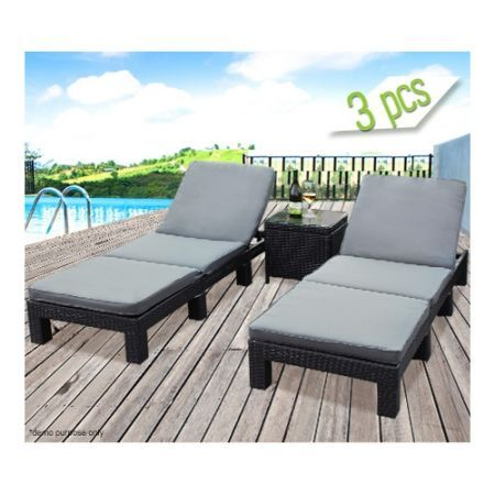 3 piece wicker chaise outdoor lounge set grey cushions crazy sales. Black Bedroom Furniture Sets. Home Design Ideas