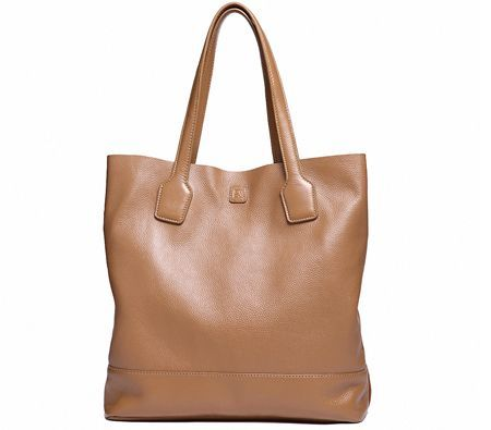 Camel Colour Leather Shopping Tote Bag