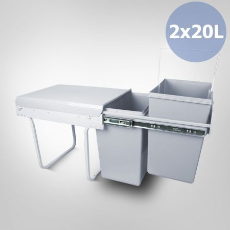 Double 20 Litre Pull Out Rubbish Bin