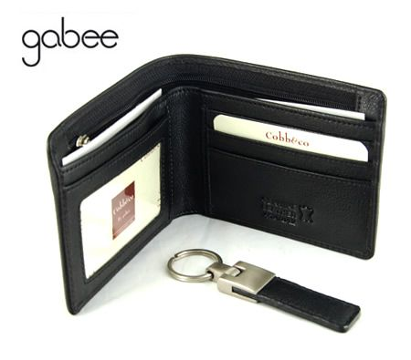 Cobb & Co by Gabee Designer Medium Sized Genuine Leather Men's Wallet with Key Ring in Black