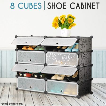 8 Compartment Shoe Cabinet Storage