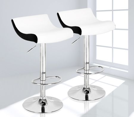 Set of 2 Adjustable Black and White Bar Chairs