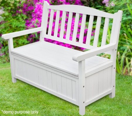 White Garden Outdoor Bench Storage Crazy Sales