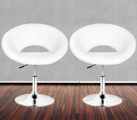 Set of White PU Scoop Style Bar Chair