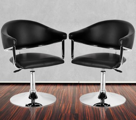 Set of Black Contemporary Adjustable Bar Chairs