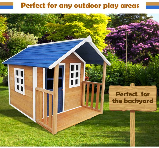 Outdoor Wooden Cubby Playhouse W Veranda Crazy Sales
