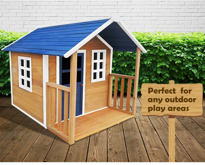 Outdoor Wooden Cubby Playhouse w/Veranda