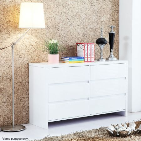 White High Gloss Six Drawer Cabinet