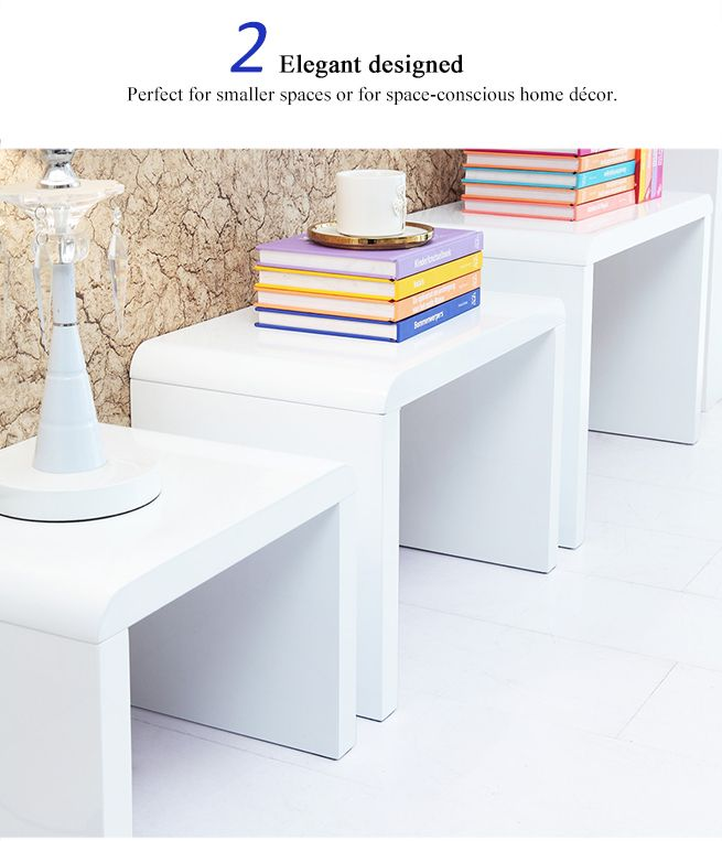 Nest Of 3 High Gloss White Curved Coffee Table Side Tables: Set Of 3 High-Gloss Nest Tables