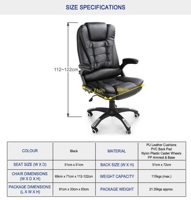 go with this black pu leather office massage chair and make comfort an