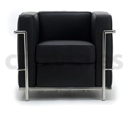 Armchair sofa le corbusier lc2 replica black crazy sales for Le corbusier replica