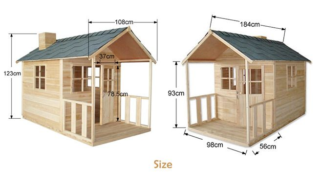 Outdoor Playhouse Wooden Cubby House with Windows and Verandah - JS022 ...
