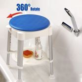 Shower Stool with Rotating Safety Seat