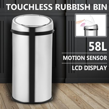 58L Automatic Sensor Rubbish Bin S/S Touch Less Dust Bin