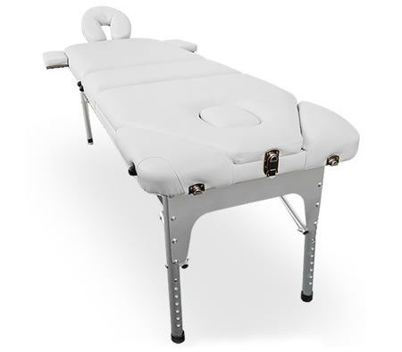 Professional Light Weight Portable Aluminium 3 Fold Massage Table Chair Bed with Carry Bag - White