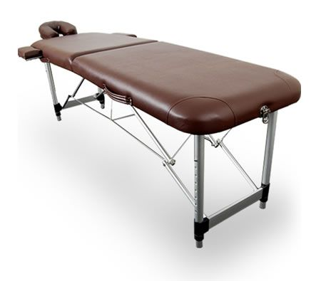 Professional Light Weight Portable Aluminium 2 Fold Massage Table Chair Bed with Carry Bag - Brown