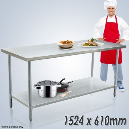 Stainless Steel Kitchen Work Bench & Catering Table (152cm x 61cm)