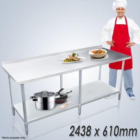 Stainless Steel Kitchen Work Bench & Food Prep Table (244cm x 61cm)
