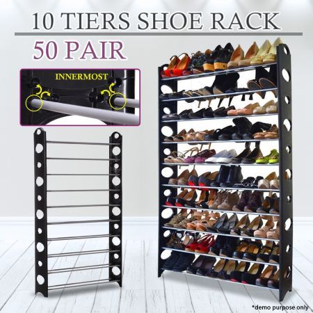 Perfect Black 50 Pair Stackable Shoe Storage Rack