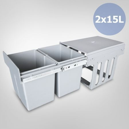 Double 15 Litre Pull Out Rubbish Bin