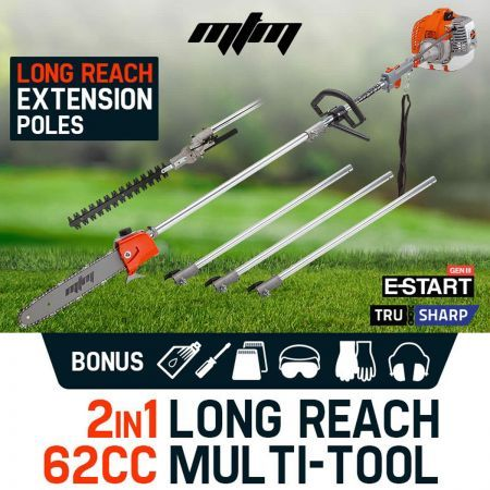 MTM 62CC 2in1 Hedge Trimmer Long Reach Chainsaw Pruner MTX200
