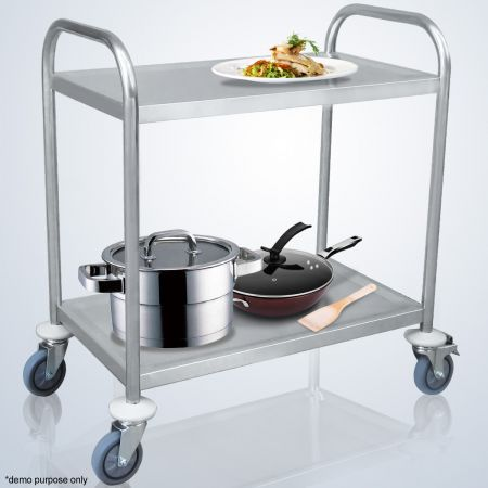 Two-Tier Stainless Steel Kitchen Trolley