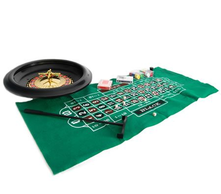 "Deluxe 40cm 16"" Roulette Gaming Set with Wheel / Chips / Cards / Dice"