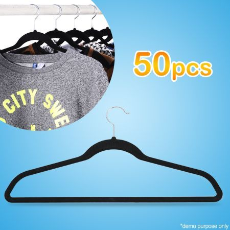 Pack of 50 Non-Slip Velvet Clothes & Coat Hangers