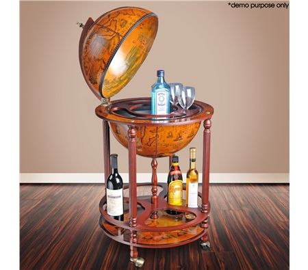 Deluxe Antique Globe Bar Cabinet /Drink Trolley